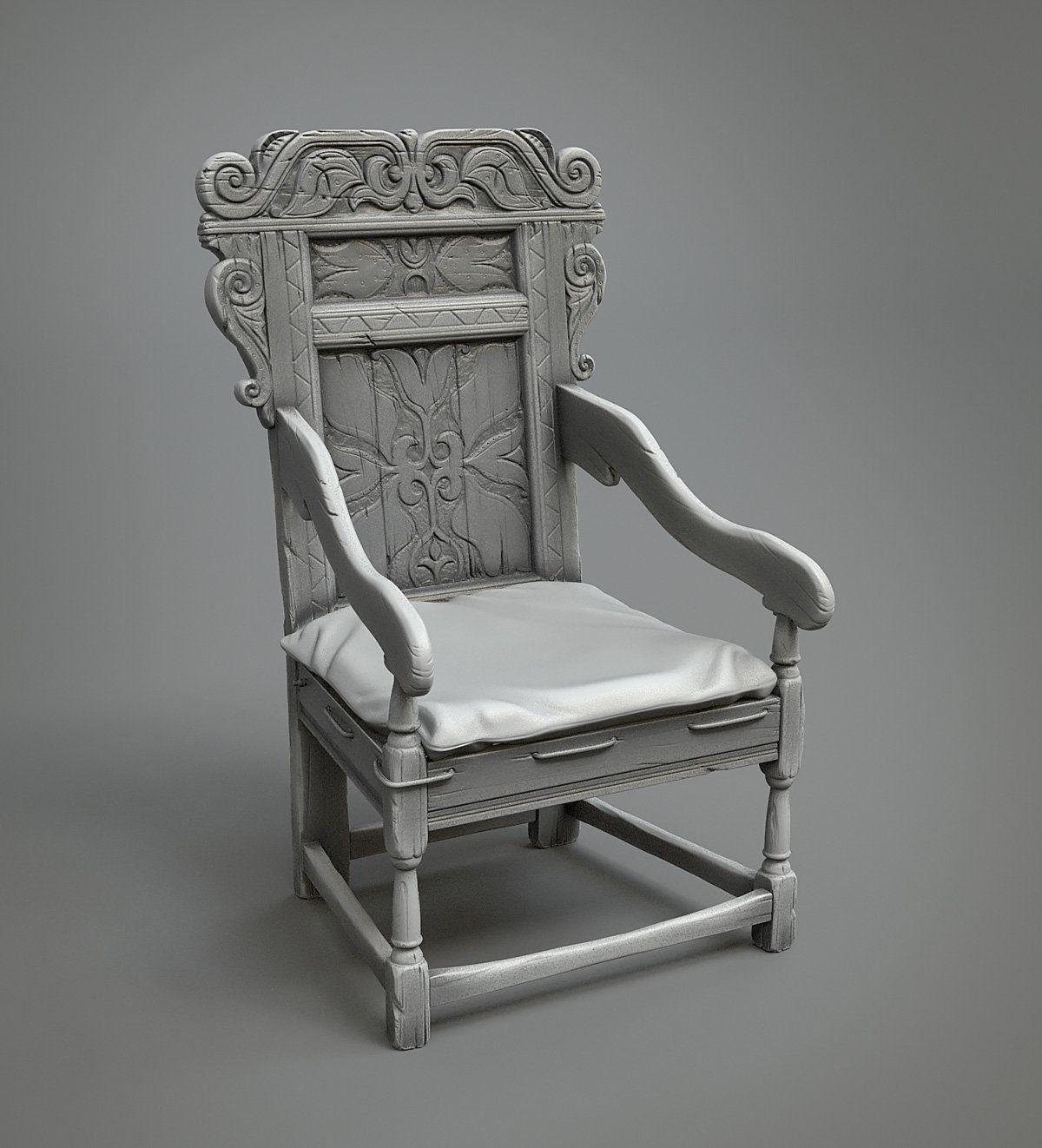 ArtStation - Medieval chair, Leonid Kuzyakin | 3d props ...