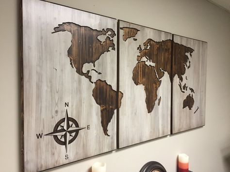 A personal favorite from my etsy shop httpsetsylisting wood world map wall art carved 3 panel home decor world map decal world map poster wedding gift wedding guestbook housewarming present gumiabroncs Image collections