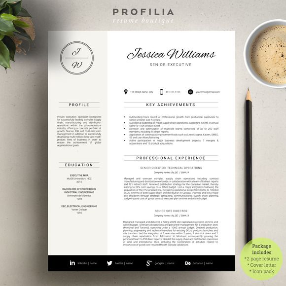 word resume  u0026 cover letter template by profilia resume boutique on  graphicsmag