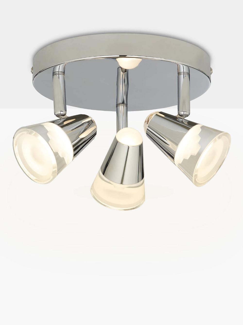 John Lewis Partners Polaris Led 3 Spotlight Bathroom Ceiling Plate Chrome Bathroom Light Fittings Bathroom Ceiling Bathroom Lighting