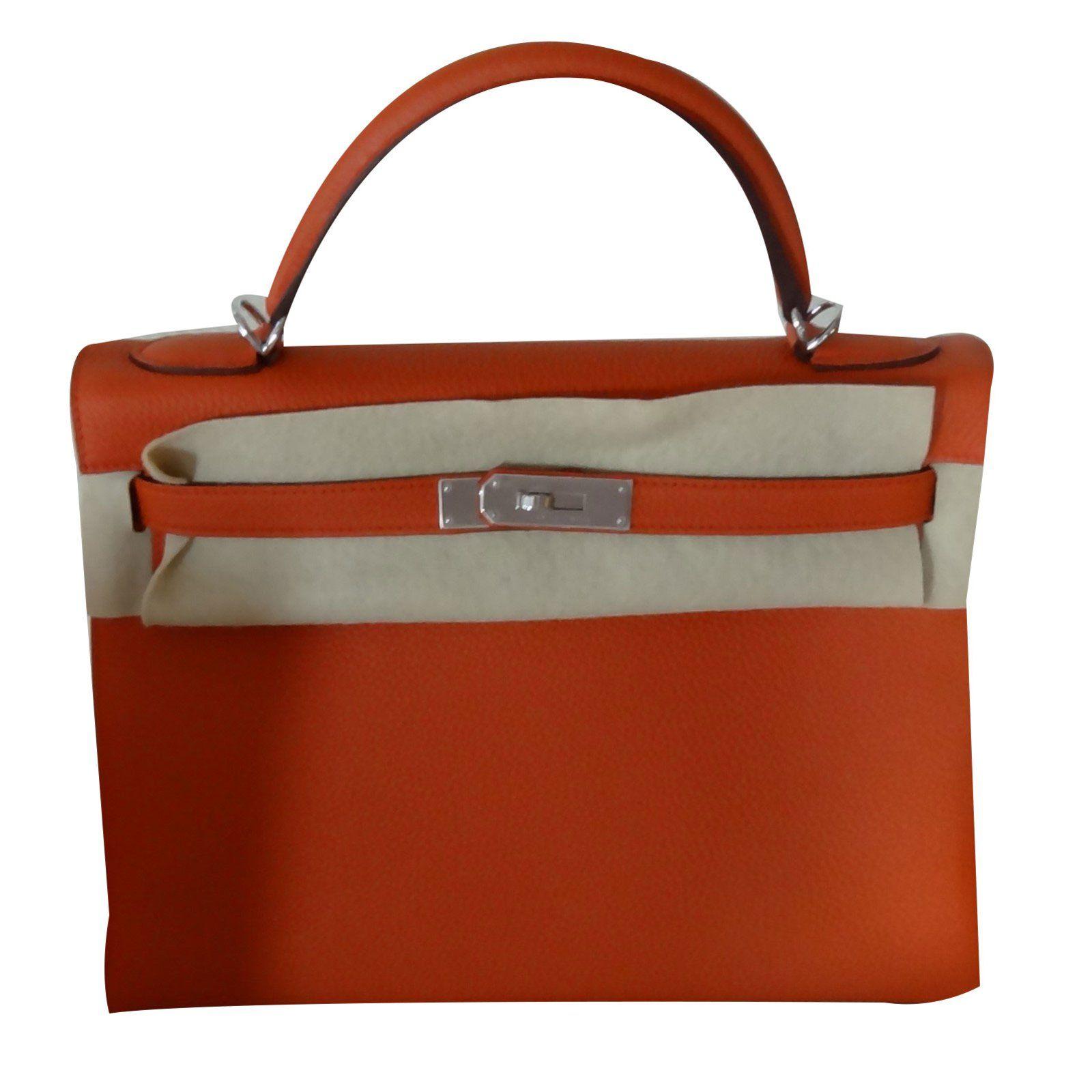480c3ffd710d Sacs à main Hermès KELLY II Cuir Orange ref.70622 - Joli Closet