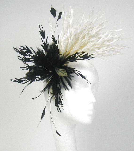 Black And Cream Fascinator Hat For Weddings By Hatsbycressida