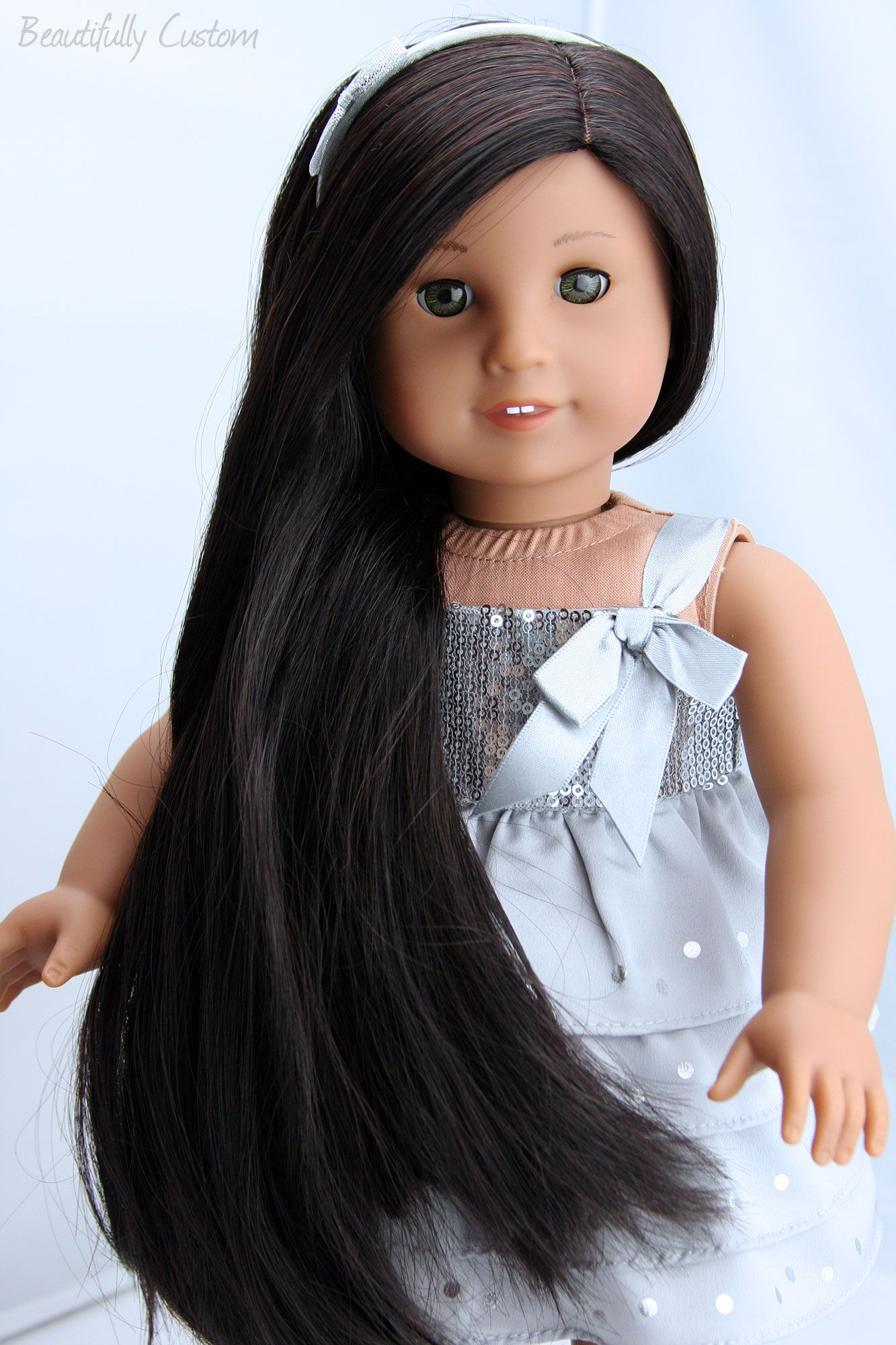 Custom American Girl Doll Hazel Green Eyes Medium Skin Long