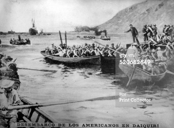 Landing of the Americans in 'Dalquiri'. The American army commanded by William Rufus Shafter landed in Daiquiri, 14-miles from Santiago, on 22nd June 1898, and were received by the Cuban General Demetrio Castillo. There was no opposition or lost men. Cigar card from the History of Cuba, Geografico Universal, Propaganda de los Cigarros Susini y La Corona, Tabacalera Cubana (Photo by The Print Collector/Print Collector/Getty Images) #historyofcuba Landing of the Americans in 'Dalquiri'. The Americ #historyofcuba