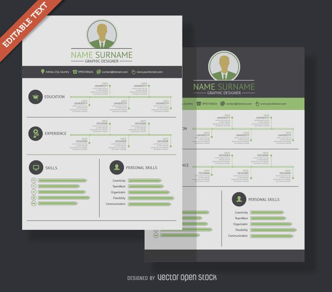 Resume template with spaces for a short bio, contact details - contact details template
