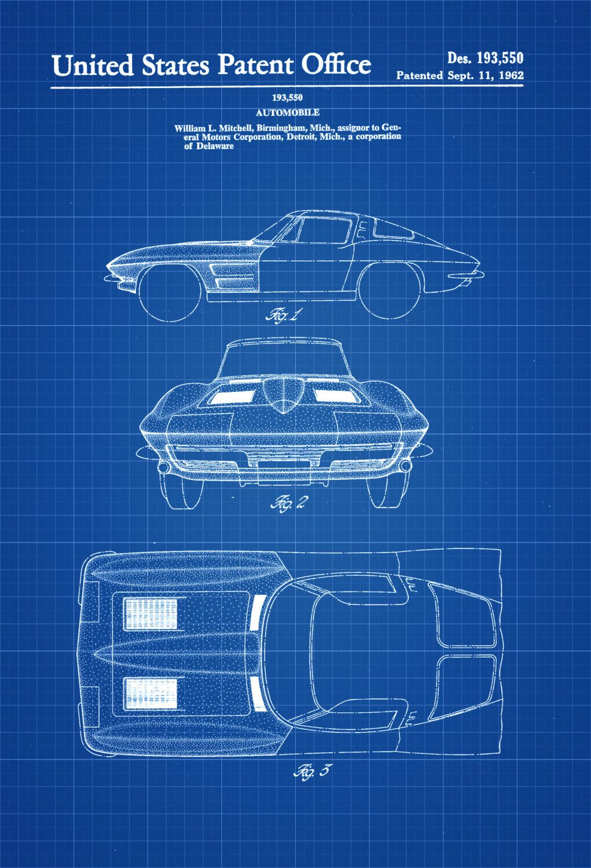 1963 Corvette Stingray Patent – Patent Print, Wall Decor, Automobile ...