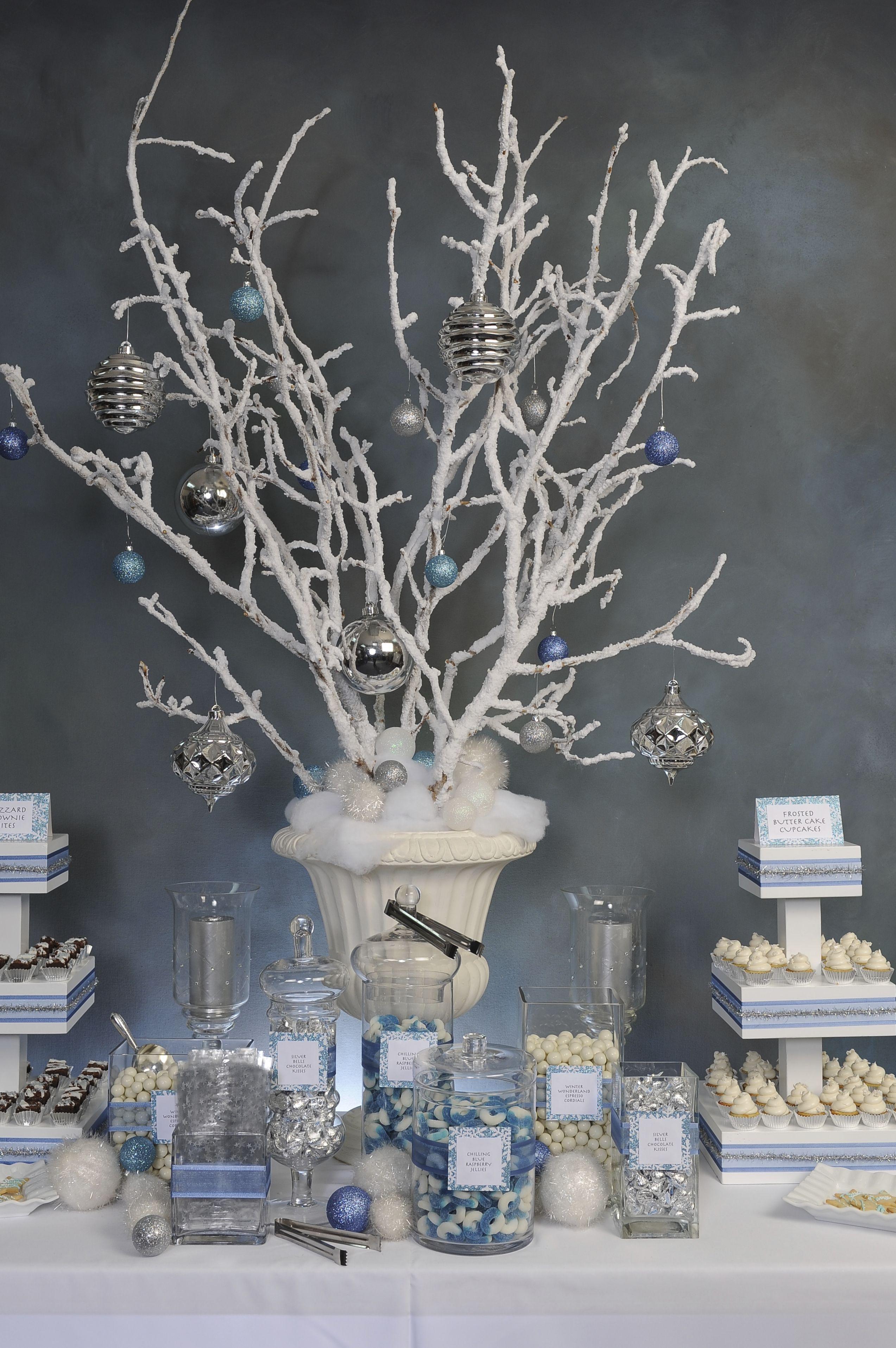 Winter Wonderland candy buffet | Winter wonderland party ...