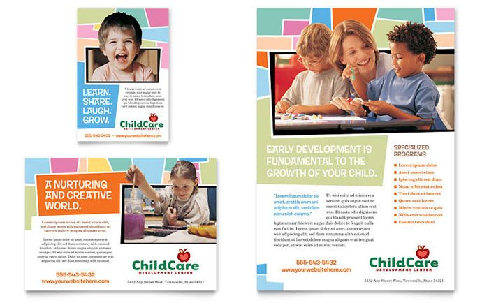 Preschool Kids And Day Care Flyer And Ad Design Template By
