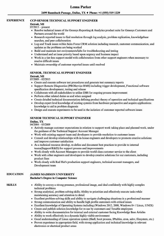 It Support Technician Resume Inspirational Resume Format For Desktop Support Engineer L2