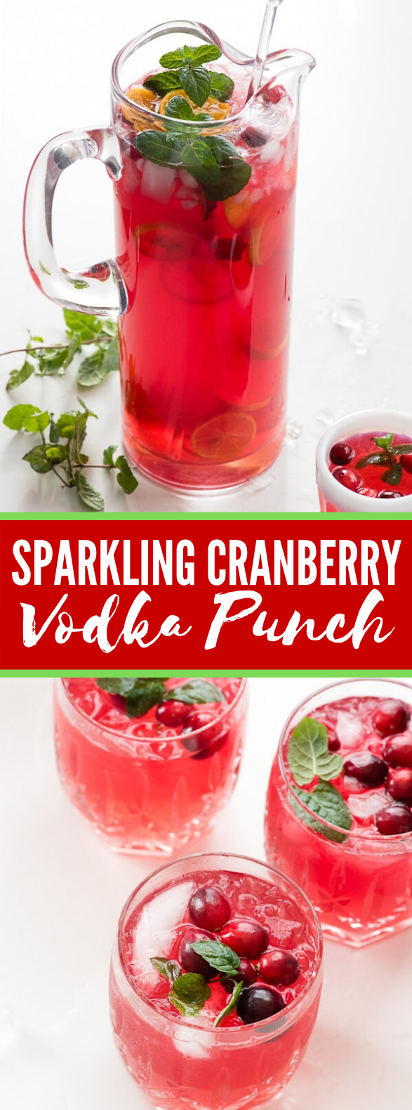 SPARKLING CRANBERRY VODKA PUNCH #drinks #cocktails #vodka #punch #sparkling #vodkapunch