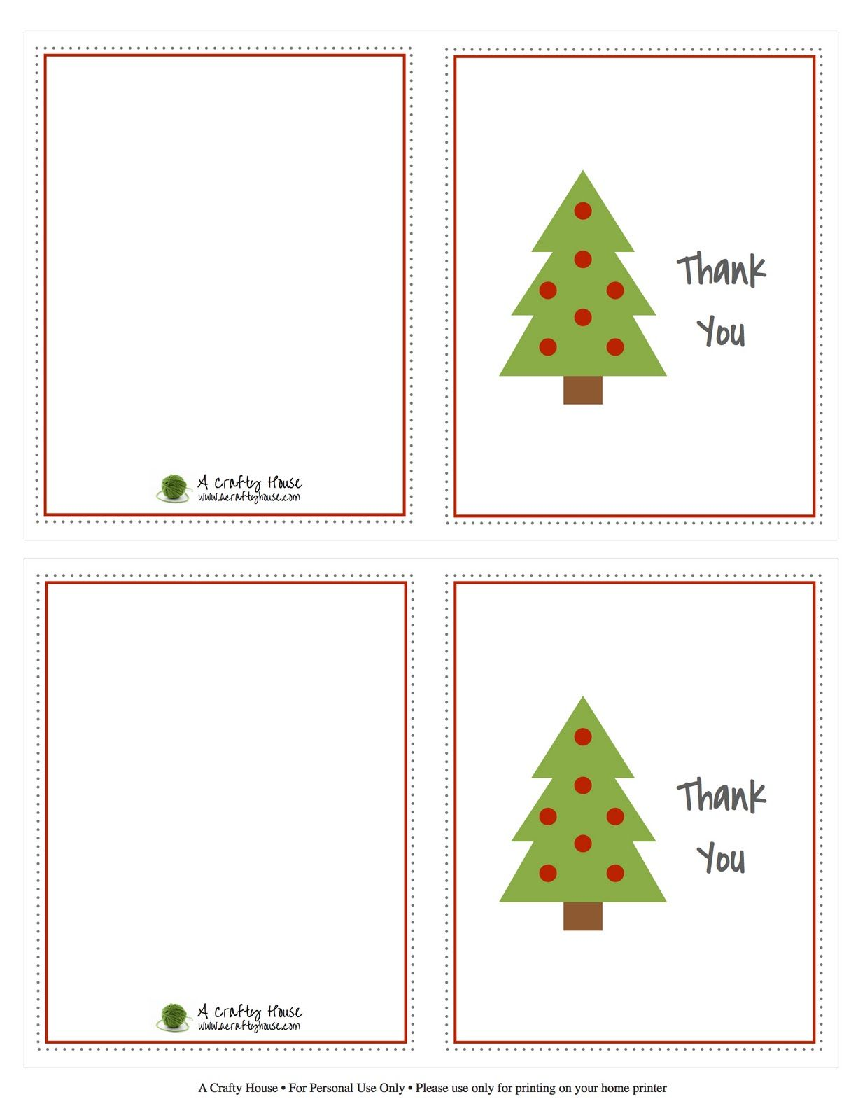 Free printable christmas card thank you note a crafty