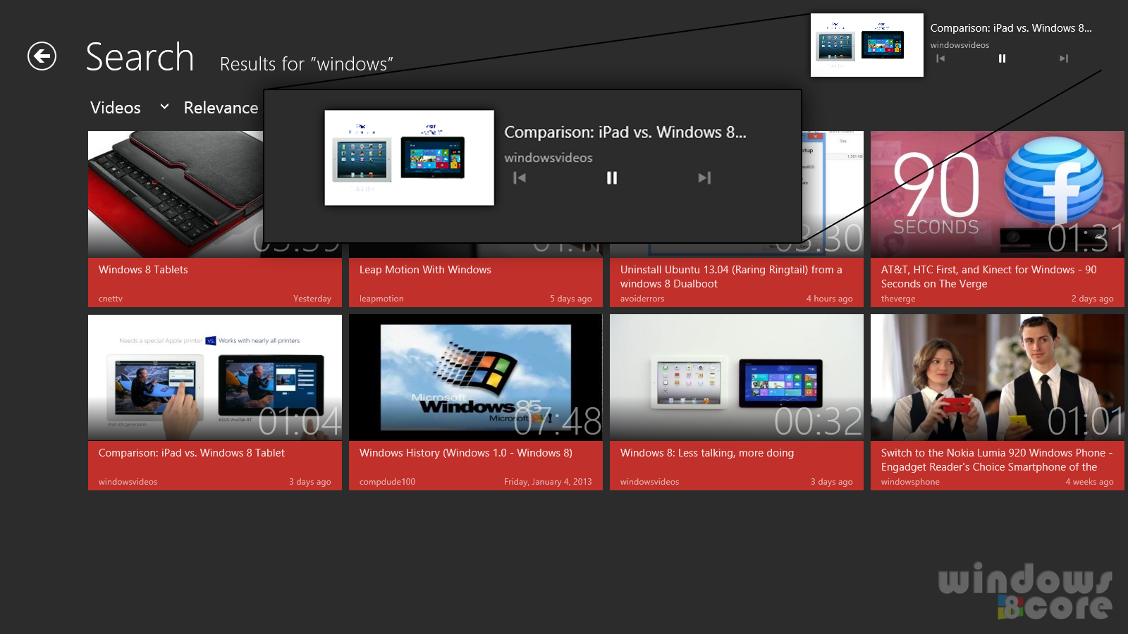 Hyper for YouTube Windows 8/RT app lets you play videos