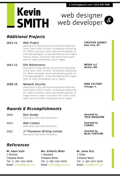 Microsoft Word Web Designer Resume Green 2pg0002 Jpg 402 595 Resume Web Design Template Web