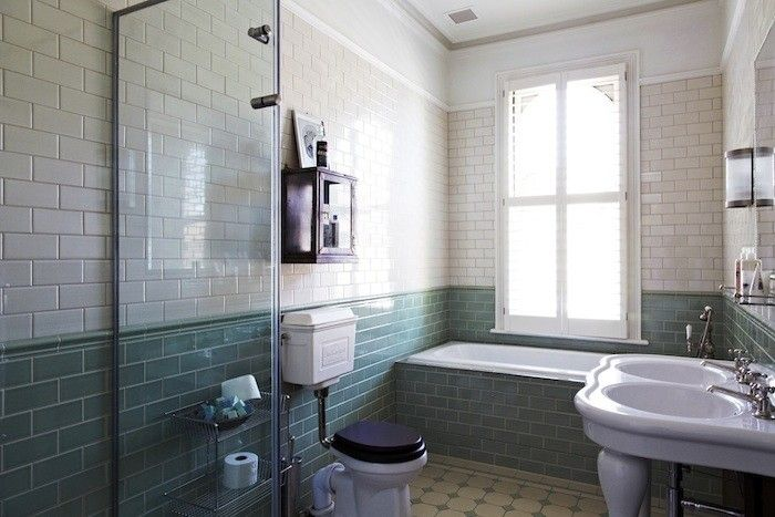 In A Newly Remodeled And Refurbished Edwardian Villa In London, Dark Accents Link Past And Present And Introduc… | Edwardian Bathroom, Green Bathroom, Tile Bathroom