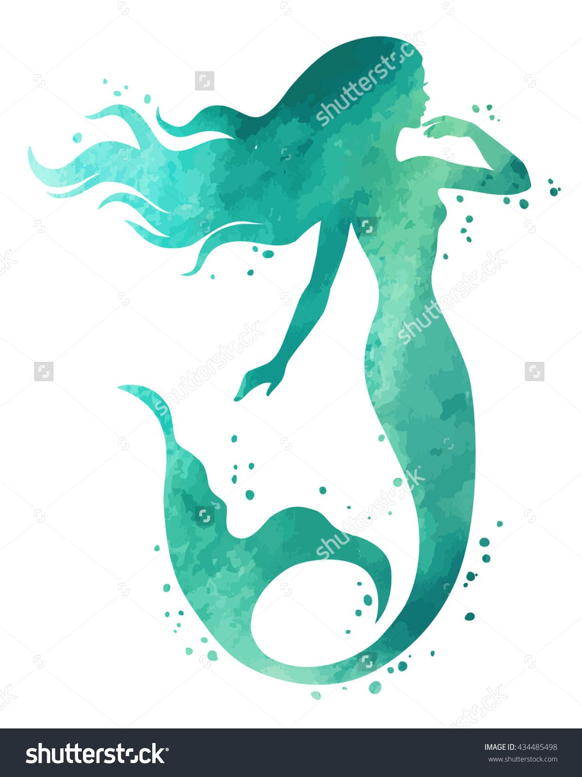 Hand painted mermaid watercolor vector silhouette illustration hand painted mermaid watercolor vector silhouette illustration stopboris Gallery