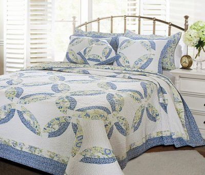 Francesca Wedding Ring King Quilt Set Country Cottage Blue Yellow Comforter | eBay
