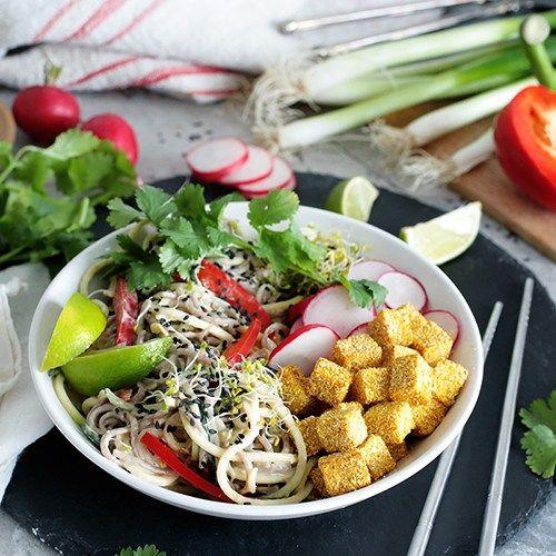 Soba Noodle Bowl w/ Crispy Tofu (Vegan   GF)