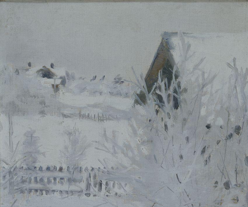 Talvimaisema (Harmaa talvipäivä Malmilla), 1890