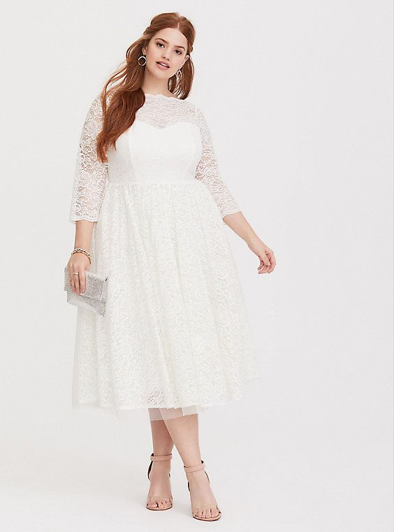 White Lace Midi Dress | Products | Lace midi dress, Dresses, Plus ...