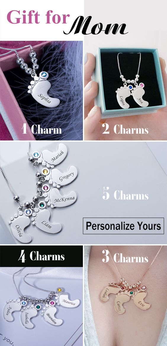Personalized Mothers Necklace Baby Feet Charm #greatnames