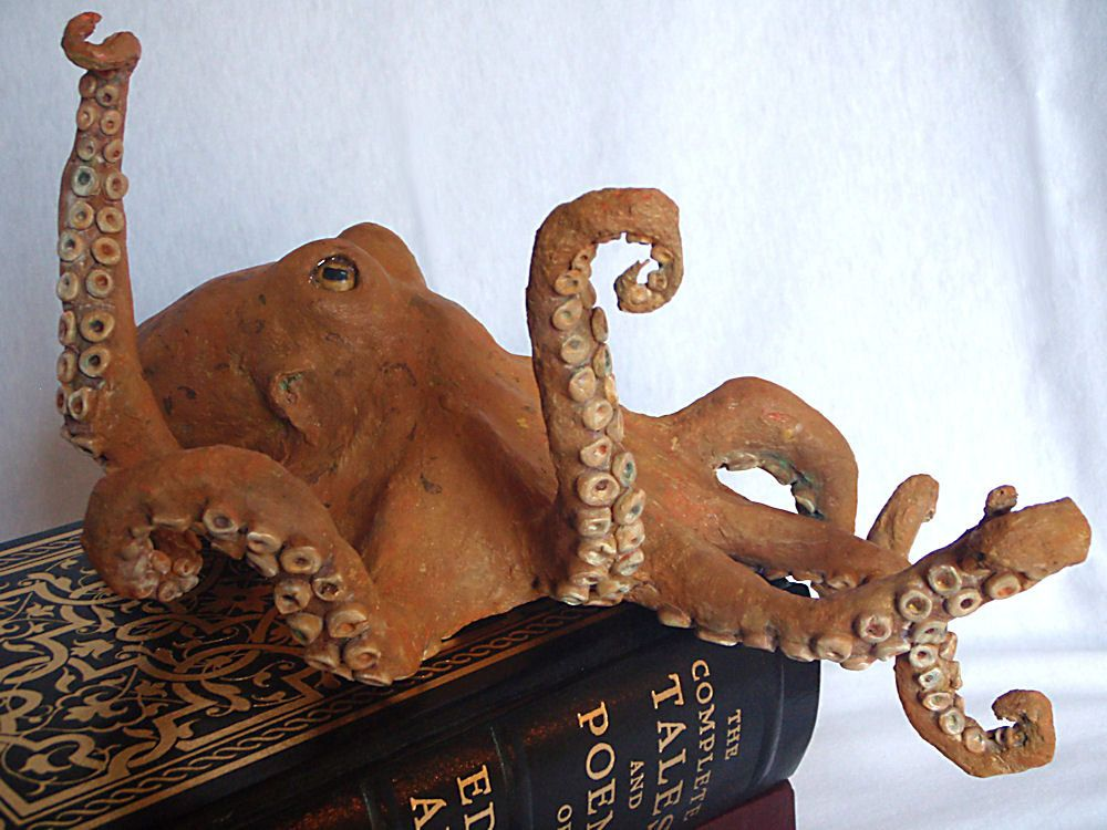 Octopus sculpture sea creature large paper mache orange for How to make a sculpture out of paper mache