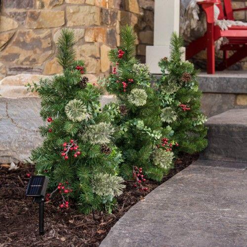 Belham Living Set of 3 Pre-lit Solar Powered Stake Christmas Trees