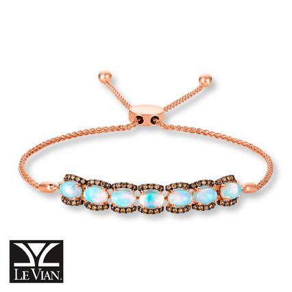 Levian Neopolitan Opal Bolo Bracelet In14k Strawberry