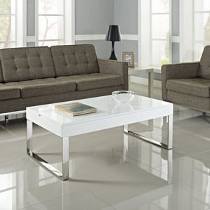 Modway Gloss Coffee Table in White