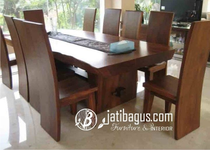 Meja Makan Trembesi Blok Solid Wood Kayu Meh Set Ruang Makan