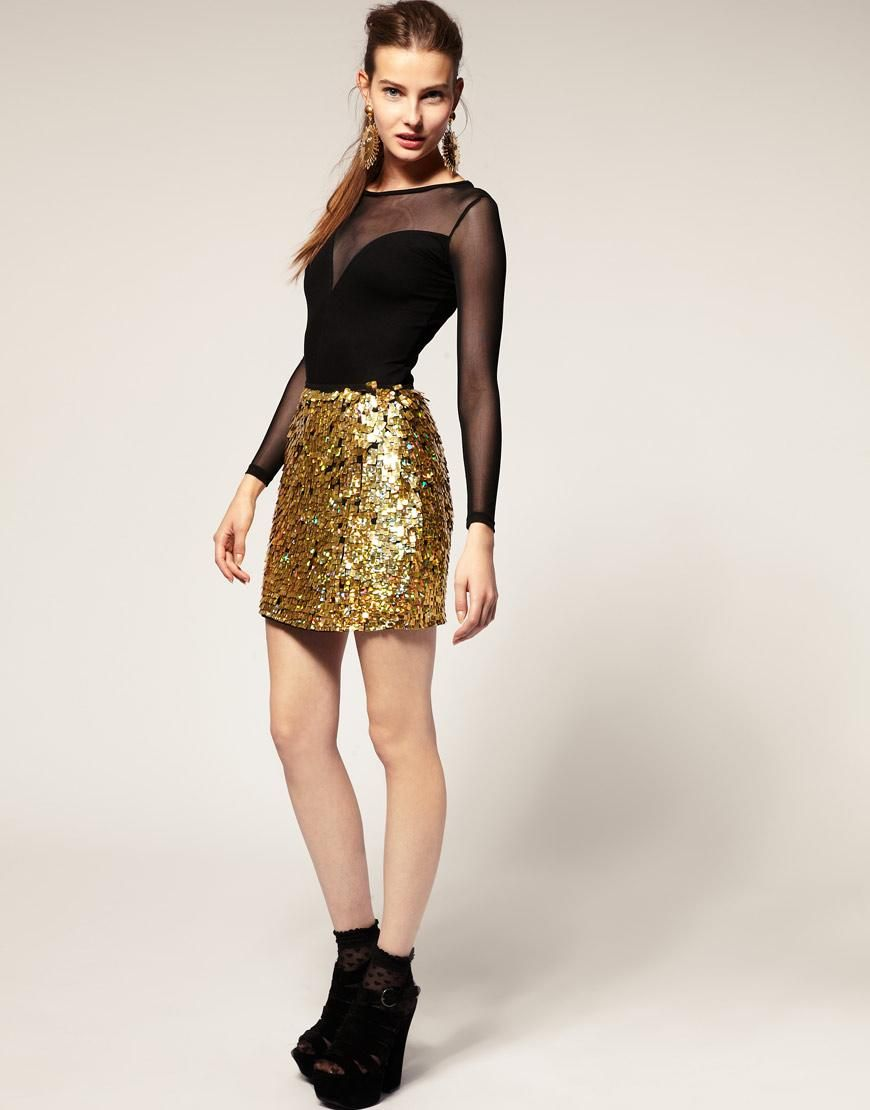 Buy Gold Asos sequin skirt pictures pictures trends