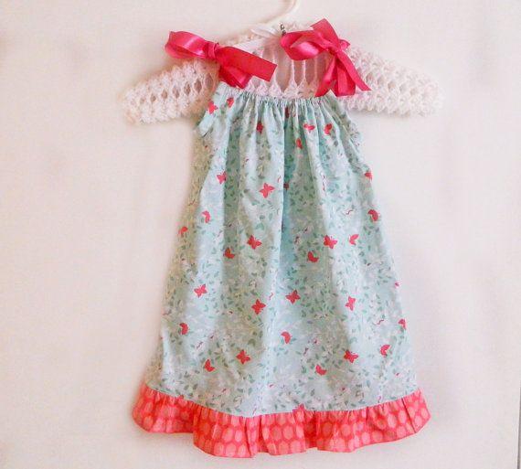 Dress - Pink & Blue Butterflies - made to order newborn - 5T. $18.00, via Etsy.