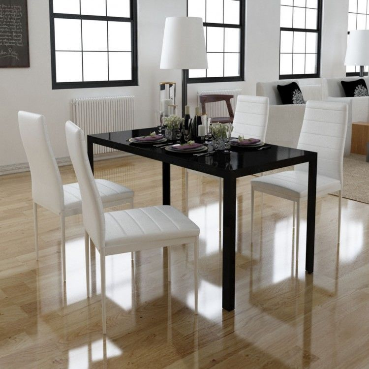 dining room set table chairs 5 pc black white breakfast