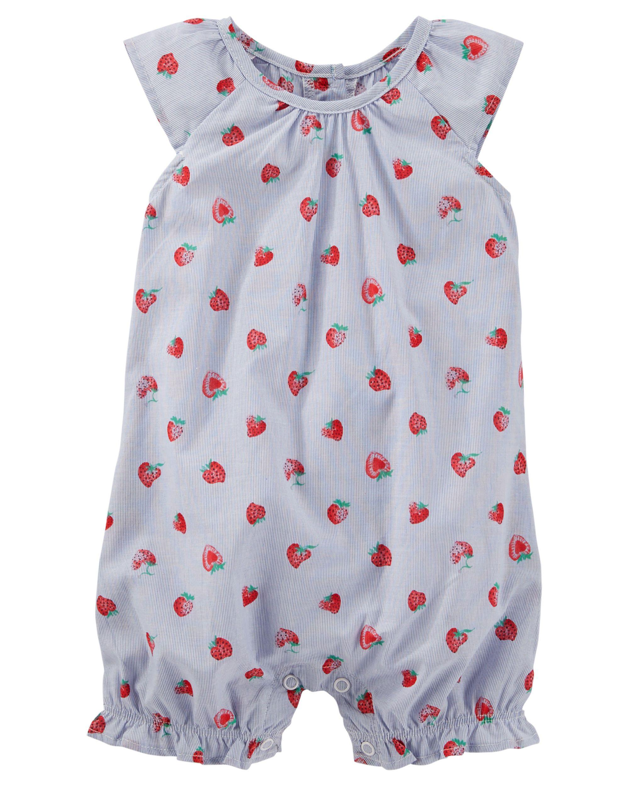 53413749865 Baby Girl Strawberry Print Ruffled Romper