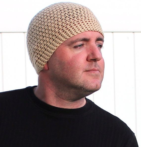 Tan Beanie Hat Crochet Skullcap Mens Winter Hat by GuRuOriginals ... 086014f1630