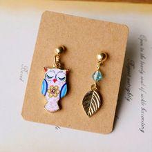 2016 New Asymmetrical Owl Gold Leaf Stud Earrings Long Unique Cartoon Animal Jewelry Earrings Unmatched Girls Owl Earrings ne08(China (Mainland))