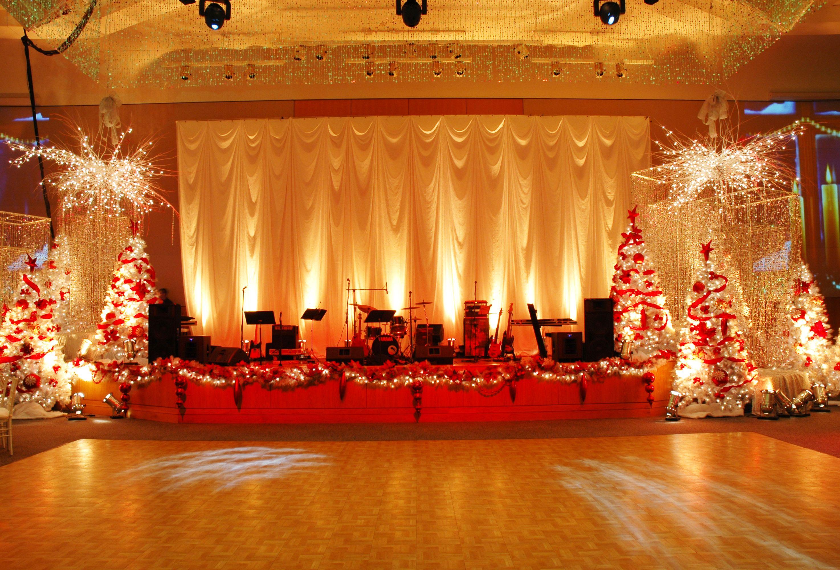 Christmas stage party decor christmas trees lights