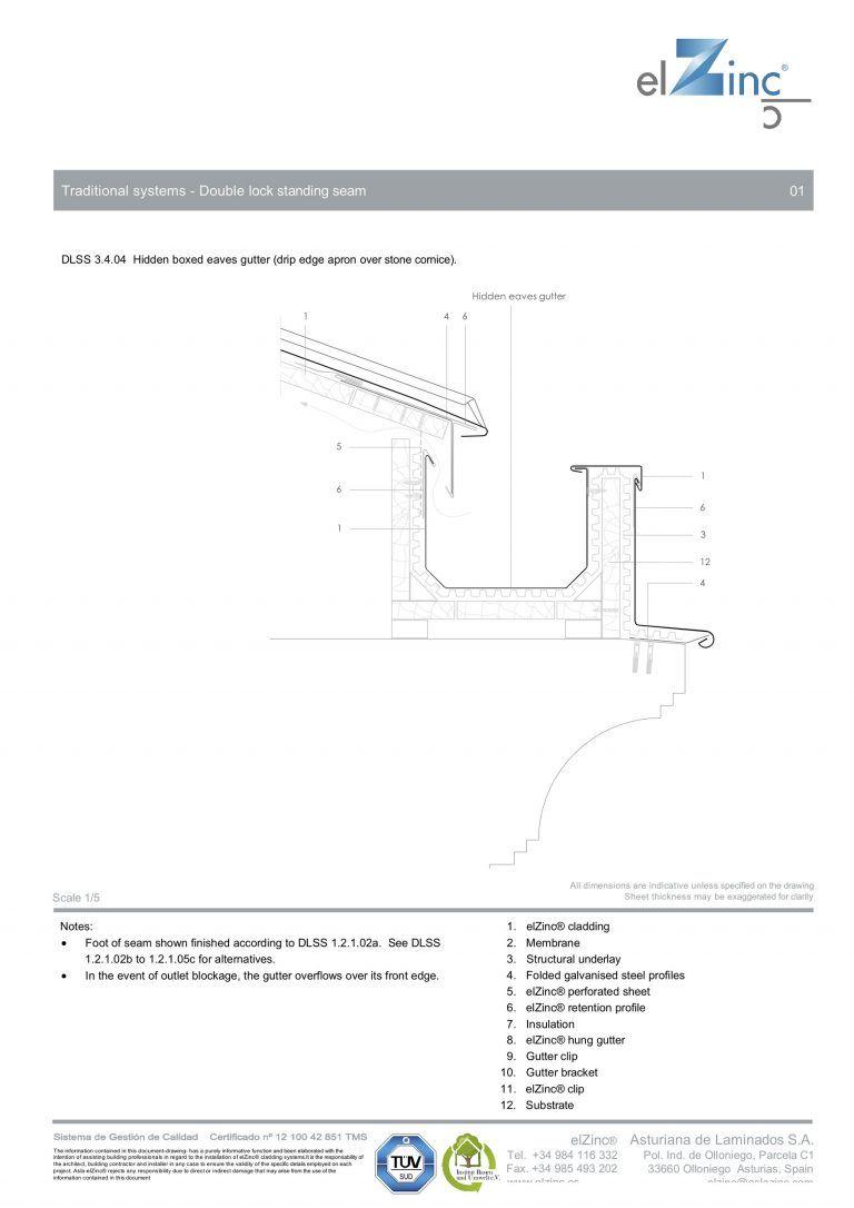 Ventilated Hidden Eaves Box Gutter Detail In Zinc Sig Zinc Copper Zinc Roof Box Gutter Roof Edge