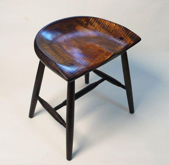 """Unique Bar Tables: Guitar Stool - Tiger Maple - Dark Vintage - 18"""""""