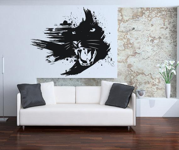 Black Jaguar Growl: Vinyl Wall Decal Sticker Growling Panther OSAA665s
