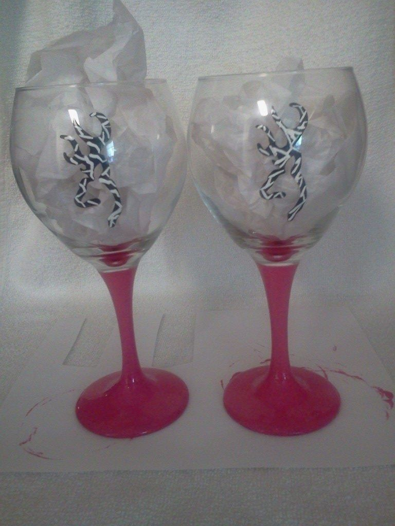 Zebra striped browning buck w/ pink stems hand painted wine glasses. Painted by Erika's Hand Painted Glass, look for me on FB.