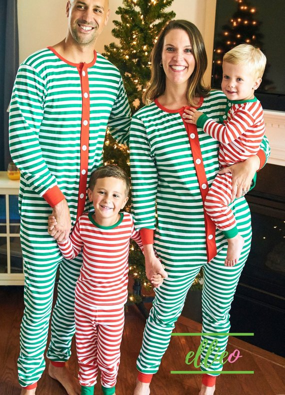 0f7999e1ee Family Christmas Pajamas  Adult One-Piece Striped Pajamas