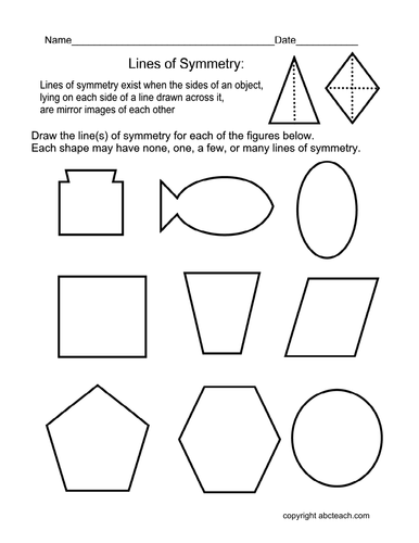 Drawing Lines Maths : Worksheet draw lines of symmetry elem