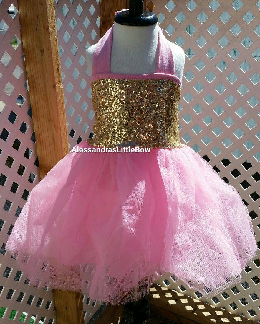 Baby girl pink sequin dress - 3 Piece Birthday Outfit Tutu Pink And Gold Birthday Baby Girl Tutu Dress Sequin Baby