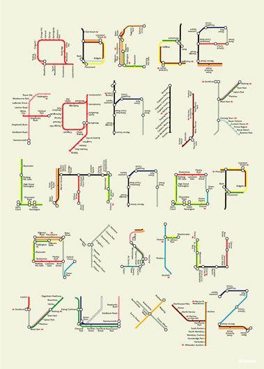 So underground! - Public transit map alphabet