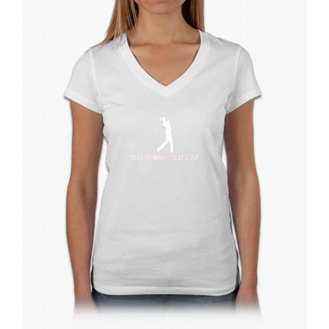 Make Sunday Great Again T Shirt Golf Lovers T Shirt Womens V-Neck T-Shirt