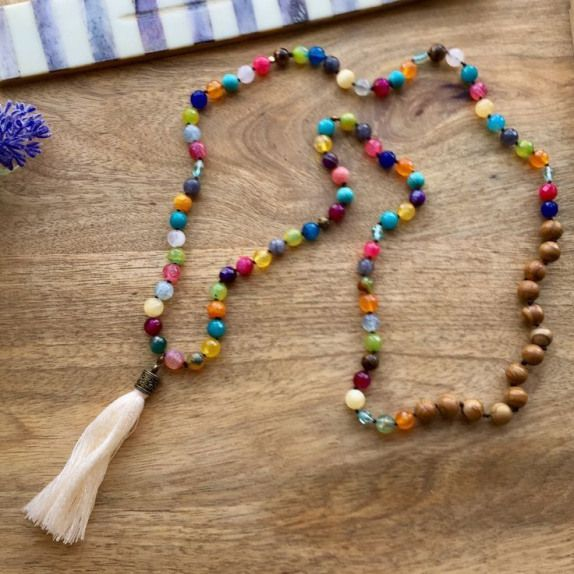 Colourful Knotted Tassel Necklace Multi Colours Gemstone necklace Long Stone necklace Boho necklace Agate Tassel necklace gift for her
