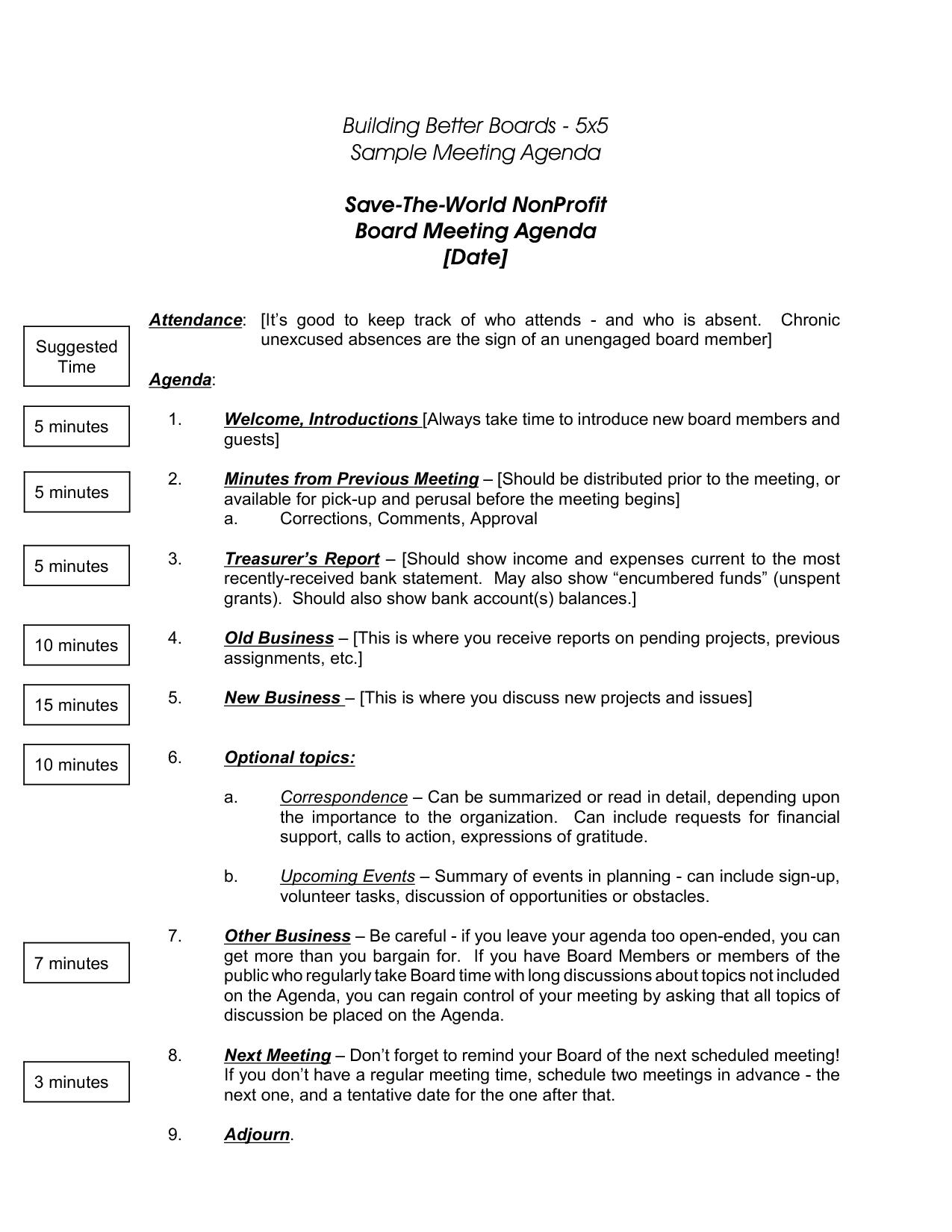 Nonprofit Board Meeting Agenda Template 5