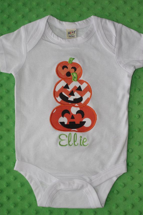 Halloween Applique Shirt-- Stack of Pumpkins-- Personalized - halloween t shirt ideas