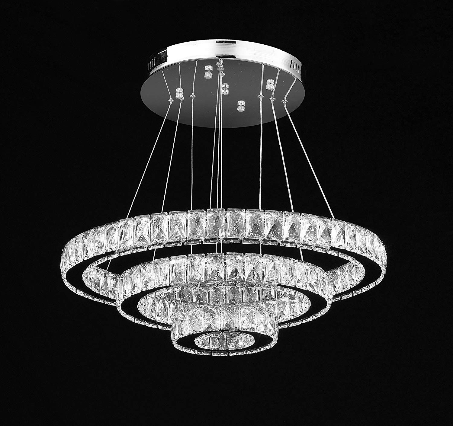 Crystal Elipse 3 Ring Chandelier Led Chandeliers Modern Contemporary Lighting 24 Wide W Adjustable Cables Modern Chandelier Led Chandelier Ring Chandelier