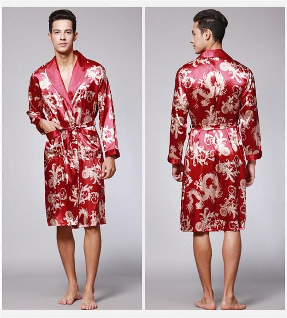 Spring summer men luxury print silk robe  f622c1dde